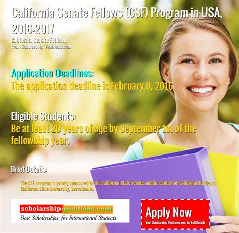 Scholarship Position Newsletter California Senate Fellows Program In Usa Scholarship 2017 2018