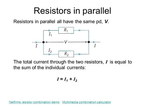 total resistance of resistors connected in parallel 5 1 electric potential difference current and resistance ppt