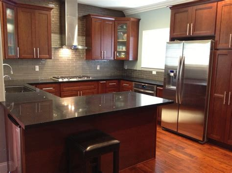 Cherry Kitchen Cabinets Cherry Kitchen Cabinets With Gray Wall And Quartz Countertops Ideas Subway Tile Backsplash