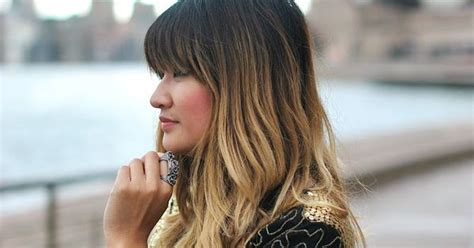 dip dye hairstyles with fringe balayage dip dyed hair bangs fringe brown blonde fashion