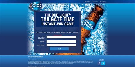 Bud Light Sweepstakes 2014 - bud light tailgate time instant win game at budlight com tailgate