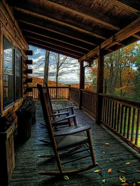 cabin porch idyllic setting cabin porch in fall fall porches front