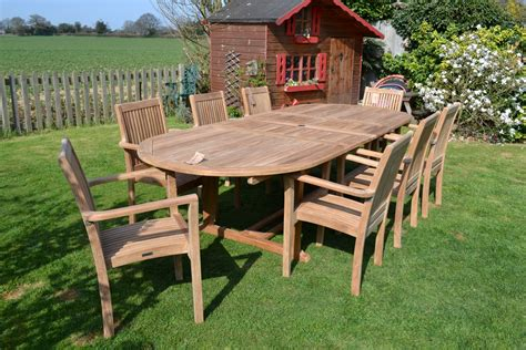 8 10 Seater Oval Teak Garden Set The Antigua Teak Patio Furniture Sets