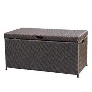 jeco espresso wicker patio furniture storage deck box