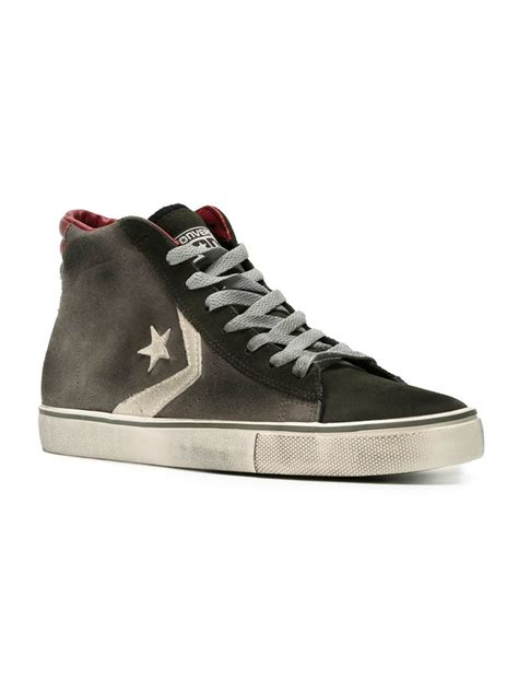 converse grey sneakers converse distressed hi top sneakers in gray for lyst