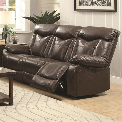 coaster reclining sofa coaster zimmerman power reclining sofa with pillow arms