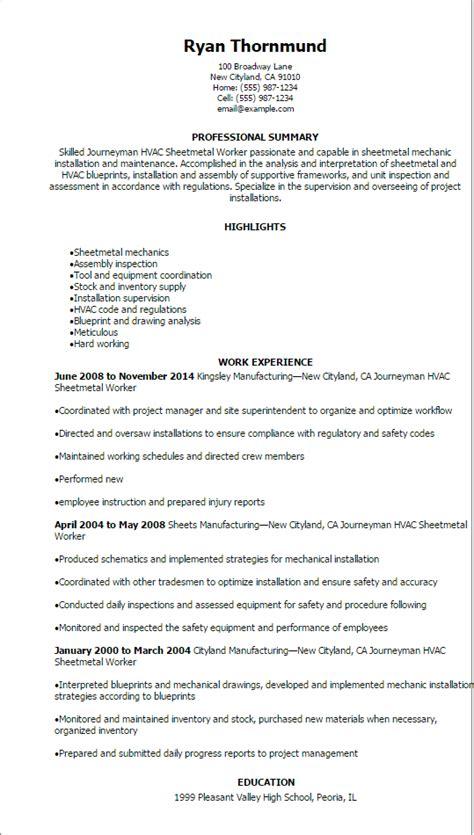 Resume Sheet journeymen hvac sheetmetal worker resume template best