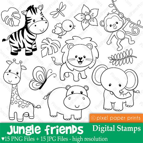 jungle friends digital sts clipart by pixel paper