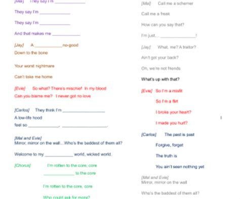 printable lyrics to rotten to the core song worksheet rotten to the core descendants disney movie
