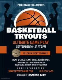 Customize 490 Basketball Poster Templates Postermywall Basketball Tryout Flyer Template