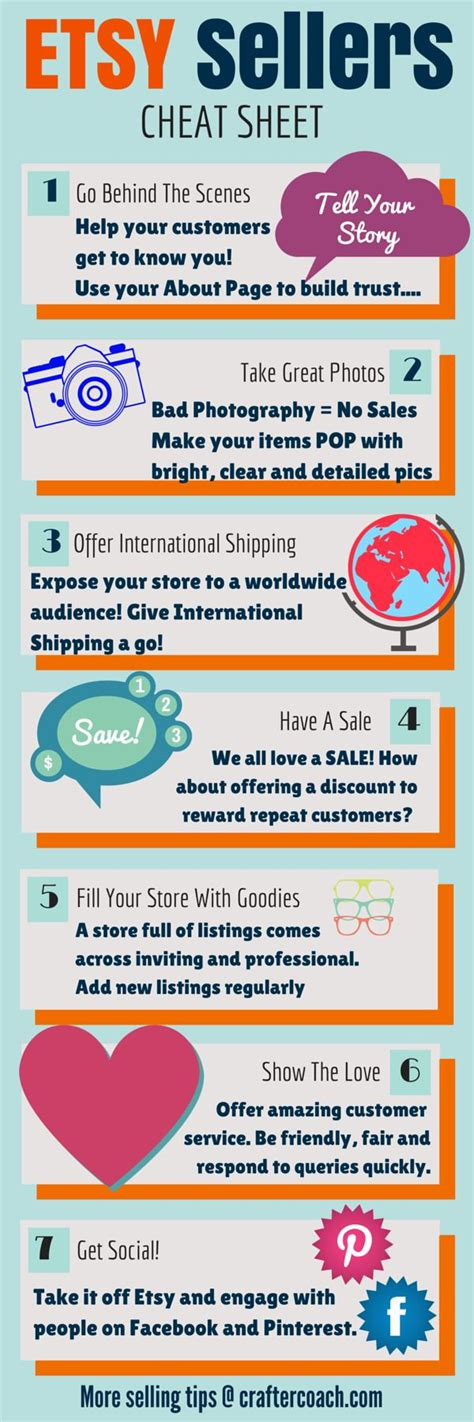 7 Tips On Selling Things by Infographic Etsy Sellers Sheet 7 Tips For Selling