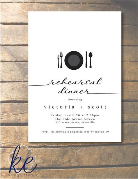 Script Rehearsal Dinner Invitation with place setting 5x7