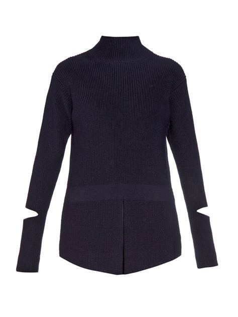 how to cut knitted sweaters stella mccartney cut out sleeve wool knit sweater in blue