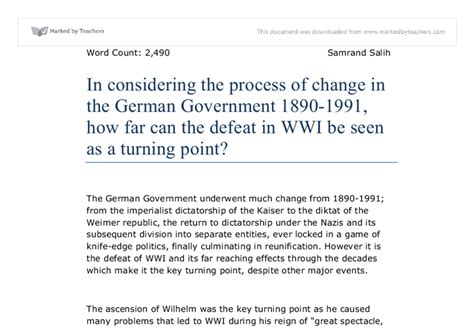 Turning Points In Modern Times Essays On German And European History by In Considering The Process Of Change In The German Government 1890 1991 How Far Can The Defeat