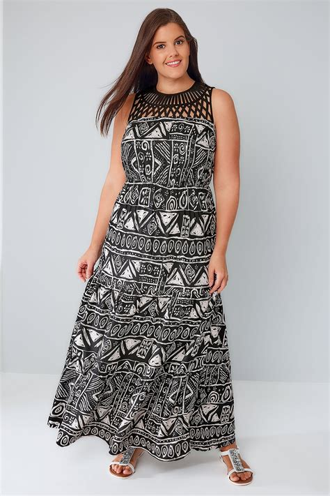 White Black Maxi black white aztec print maxi dress with cut out yoke
