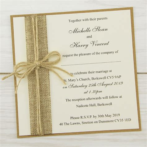 wedding invitations rustic burlap layered square invitation wedding invites