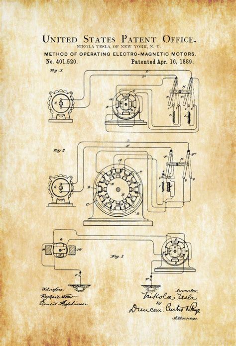 tesla motor patent tesla electro magnetic motor patent 1889 patent prints