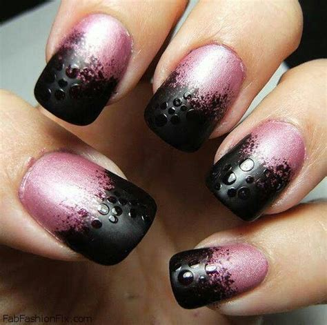 matte black and pink ombre nails black and pink colors nails pinterest