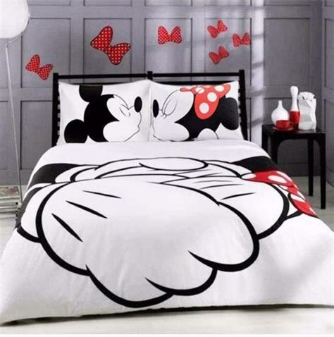 mickey and minnie mouse bedding mickey minnie mouse kiss hold hands twin full queen