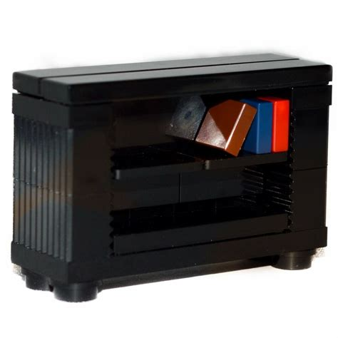 lego furniture bookshelf black bookcase  minifigure home settown ebay