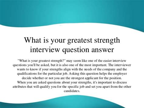 Greatest Strengths Mba by What Is Your Greatest Strength Question Answer