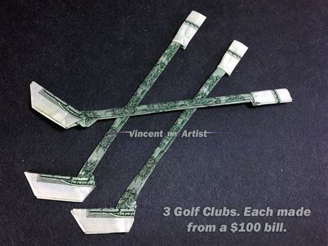 How To Make A Paper Hockey Stick - golf club dollar origami sports equipment made of real money