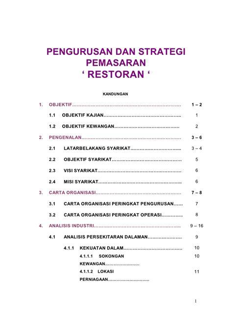 format proposal untuk memulakan perniagaan pemasaran restoran