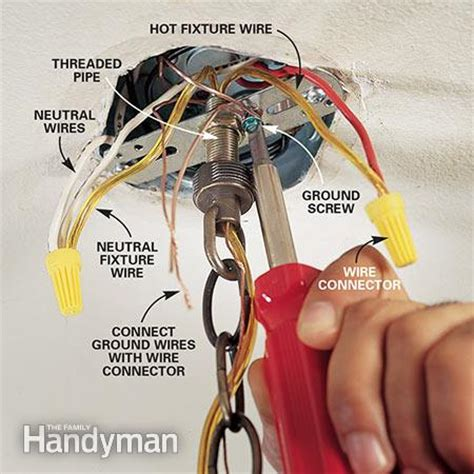 How Do I Wire A Light Fixture How To Hang A Ceiling Light Fixture The Family Handyman