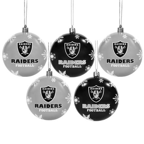 oakland raiders 5 pk shatterproof ball ornaments