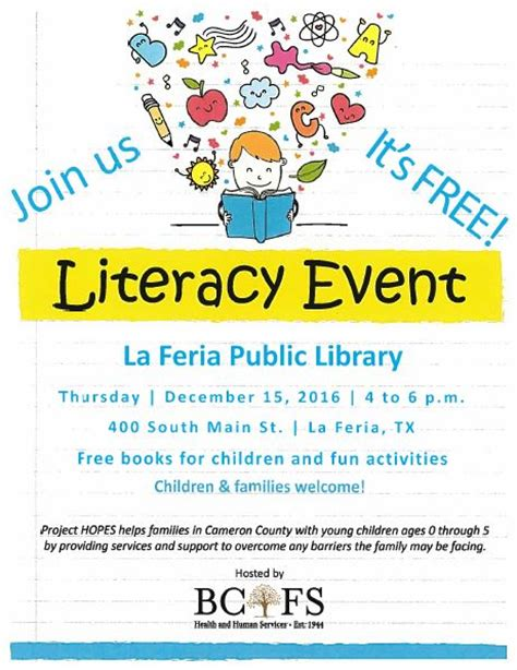 Free Dermalogica Event In La by Library Will Host Literacy Event City Of La Feria Tx