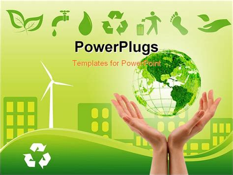 environment powerpoint template green environmentally conscious city view with clam energy