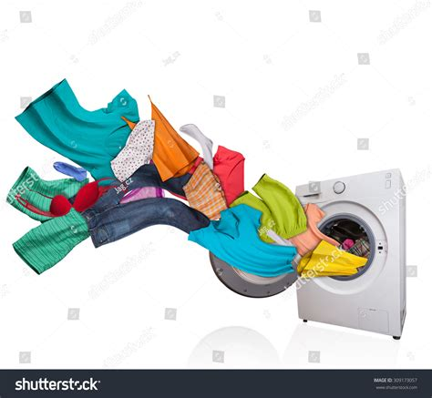 colored clothes wash in what temperature colored laundry flying washing machine isolated stock