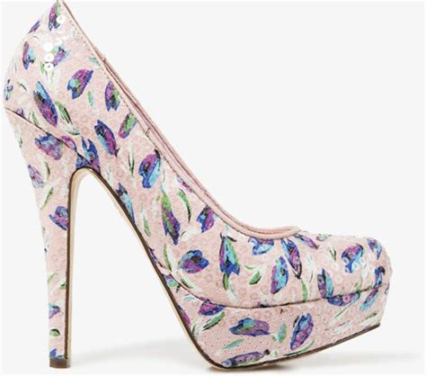 floral pattern heels sequined tulip print pumps 9 gorgeous floral patterned
