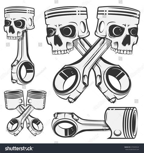 crossed pistons tattoo set of skull piston for emblems design labels stock