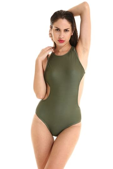 Monokini Swimsuit Swimwear Baju Renang Import 2017 womens plain strappy open back cut out one swimsuit army green melodicday