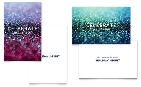 half fold card template publisher glittering celebration greeting card template word