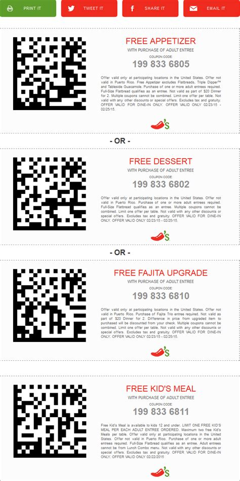 chilis to go coupon 2017 chilis coupons free meal appetizer or dessert with