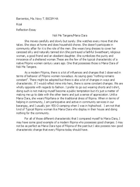 Noli Me Tangere Reflection Essay