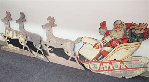 santa sleigh and reindeer decoration