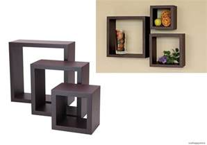 Decorative Wall Bookshelves Floating Wall Shelves Wood Cube Set Of 3 Vintage