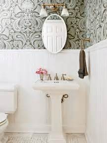 bathroom wallpaper border ideas beadboard powder room transitional bathroom bhg