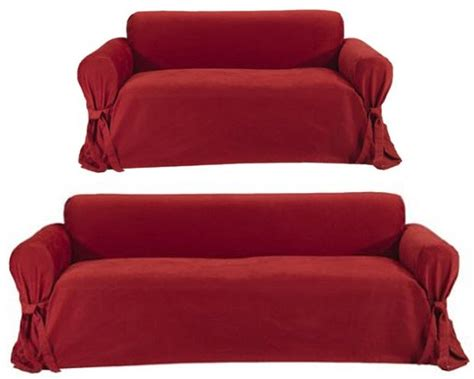 red couch covers red sofa slipcover sunnyrain thick cotton canvas solid