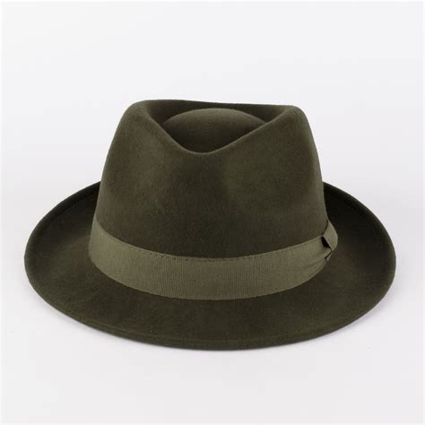 Handcrafted Hats - 100 wool trilby hat with grosgrain band handmade in italy