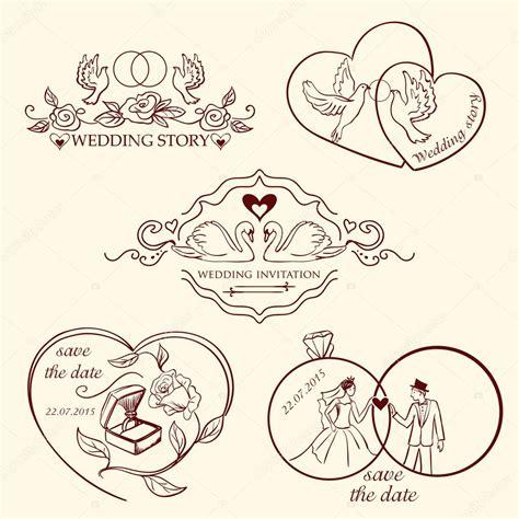 wedding logo vector collection of decorative wedding logo in retro colors