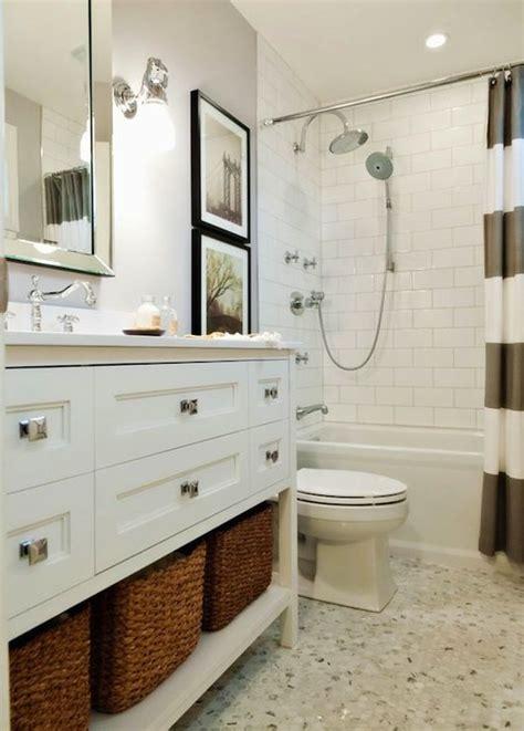 Fun Bright White And Gray Bathroom With West Elm Stripe West Elm Bathroom Vanity
