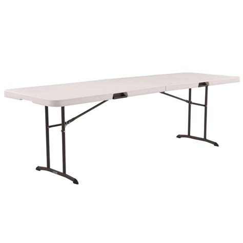 lifetime 8 folding table lifetime 8 ft almond fold in half table 80175 the home