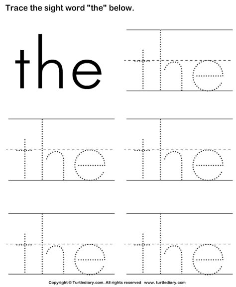 Sight Word Worksheets by Trace The Sight Words Turtlediary