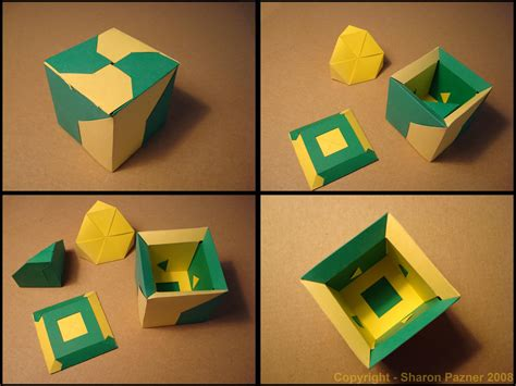 Origami Puzzle Box - fancy box simple puzzle paper hypercube more 3d