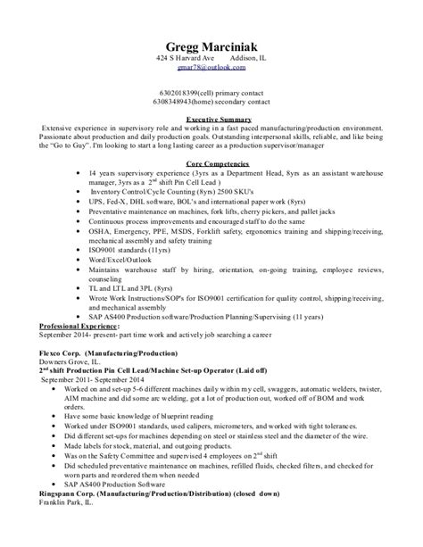production supervisor resume 28 images resume best