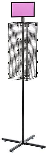 rotating grid rack black metal wire square 4 sided panel